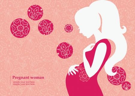Silhouet van zwangere vrouw in de lente