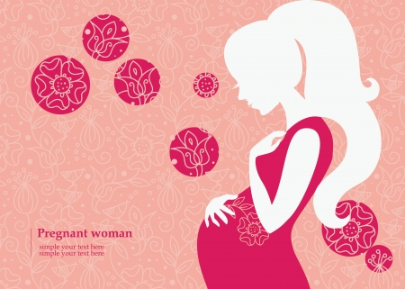 Silhouette of pregnant woman in spring Vector