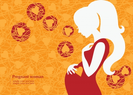 Silhouette of pregnant woman in autumn Stock Vector - 16759808