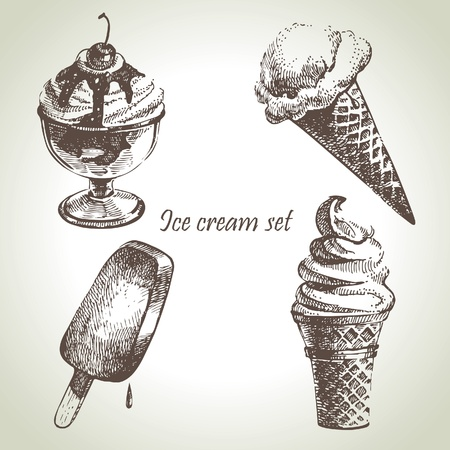 ice cream: Ice cream set. Hand drawn illustrations