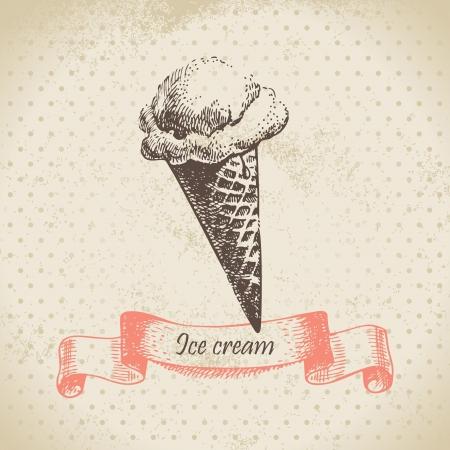 chocolate ice cream: Ice cream, hand drawn illustration
