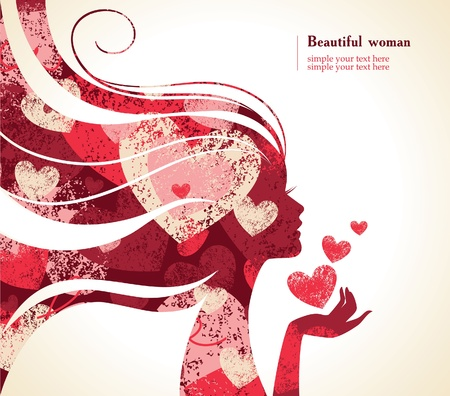 nude woman: Beautiful girl silhouette with a hearts