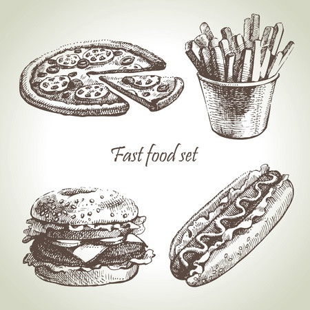 hot dog: Fast food set. Hand drawn illustrations
