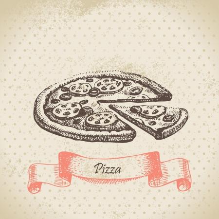 main dishes: Pizza. Dibujado a mano ilustraci�n