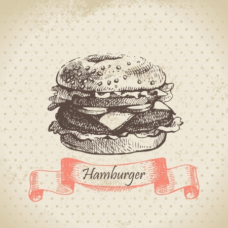 main dishes: Hamburger. Hand drawn illustration