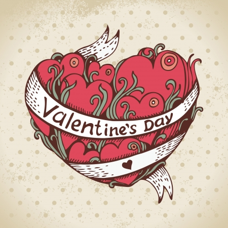 Hand drawn heart and vintage background. Valentines Day card Stock Vector - 16759809