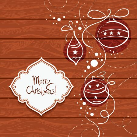 wickerwork: Christmas card with wooden background