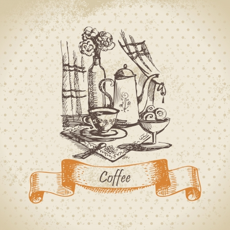 Still life with coffee. Vintage hand drawn illustration  Vector