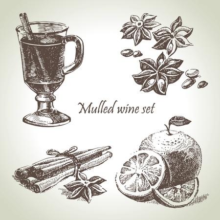 Set von Glühwein, Früchte und Gewürze, Hand gezeichnete Illustrationen Vektorgrafik