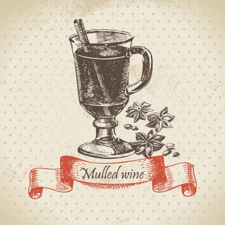 Mulled wine. Hand drawn illustration Vector