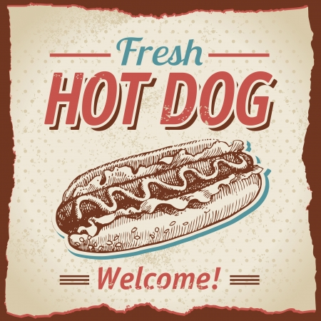 hot dog: Vintage hot dogs background