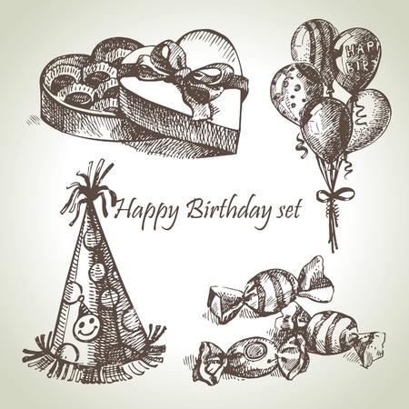 Happy Birthday set, hand drawn illustrations Stock Vector - 17126176