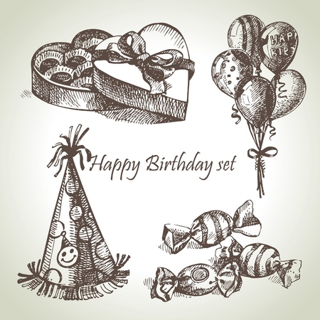 Happy Birthday set, hand drawn illustrations Illustration