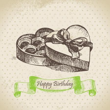 Box of chocolate. Happy Birthday hand drawn  illustration Stock Vector - 17126180