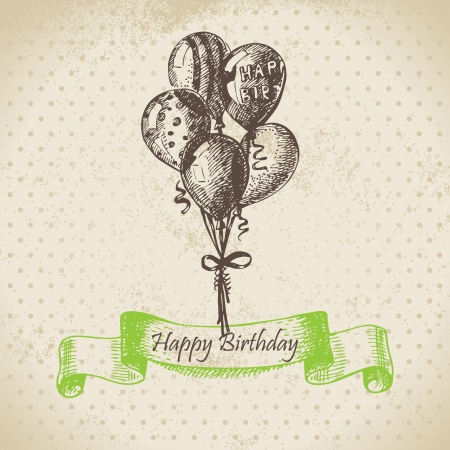 Balloons. Happy Birthday hand drawn  illustration Stock Vector - 17126156