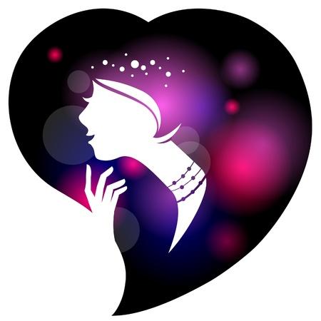 Beautiful woman silhouette Stock Vector - 17105689