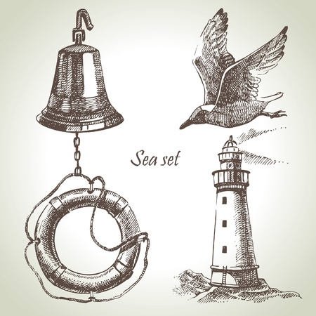 bell: Sea set of nautical design elements. Hand drawn illustrations Illustration