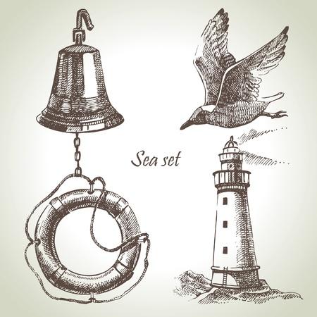 campanas: Sea un conjunto de elementos de dise�o n�utico. Dibujado a mano ilustraciones Vectores