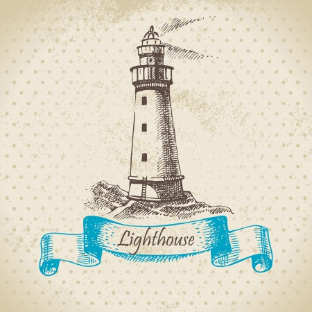 Lighthouse. Hand drawn illustration Vector