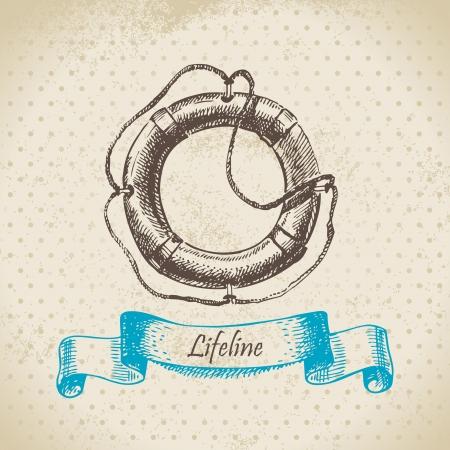 lifeline: Lifeline. Hand drawn illustration