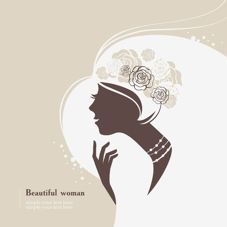 Beautiful woman silhouette Vector