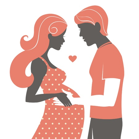 Silhouette of couple. Pregnant woman and her husband  Vector
