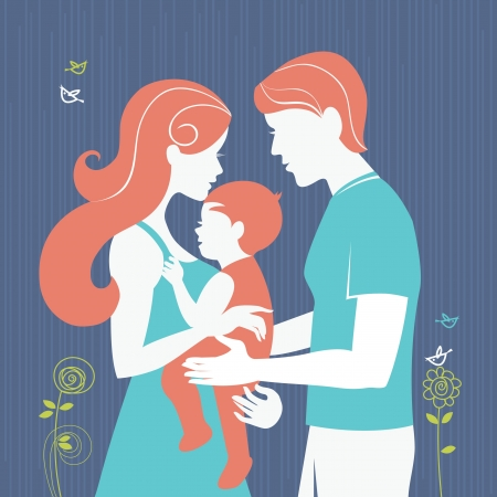 daughter mother: Family. Silhouette of parents with baby girl