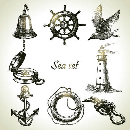 ancient ships: Sea set of nautical design elements. Hand drawn illustrations Illustration