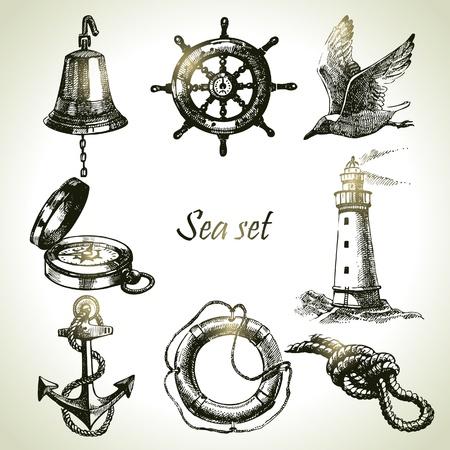 Sea set of nautical design elements. Hand drawn illustrations Illustration