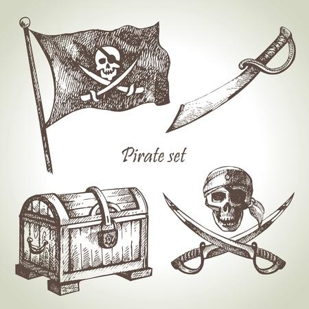 isla del tesoro: Piratas establecido. Dibujado a mano ilustraciones