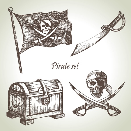 treasure chest: Pirates set. Hand drawn illustrations