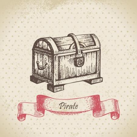 cofre del tesoro: Cofre del tesoro. Dibujado a mano ilustración