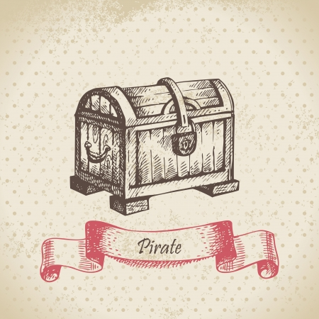 Treasure chest. Hand drawn illustration  Vector