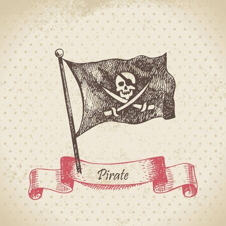 Pirate flag with a skull. Hand drawn illustration  Vector
