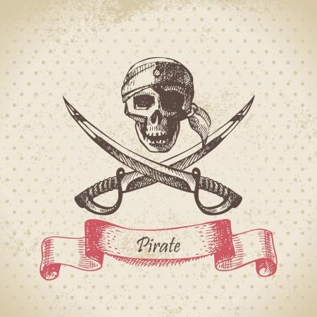 vintage gun: Pirate skull. Hand drawn illustration