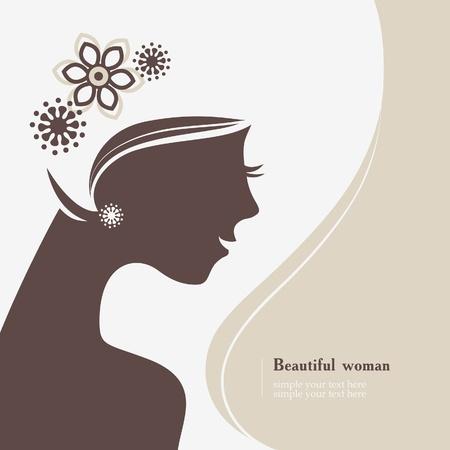Beautiful woman silhouette Stock Vector - 17105692