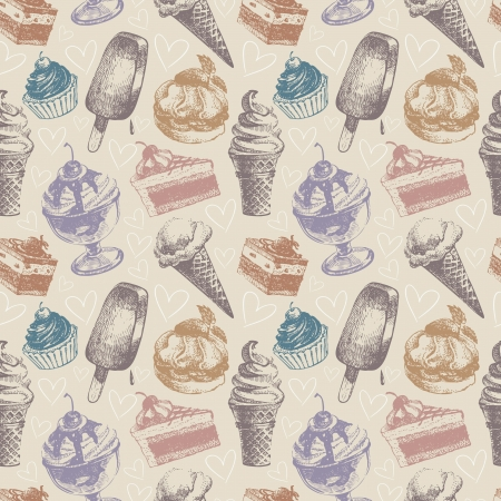 Seamless pattern with ice cream and cakes Stock Vector - 17105686