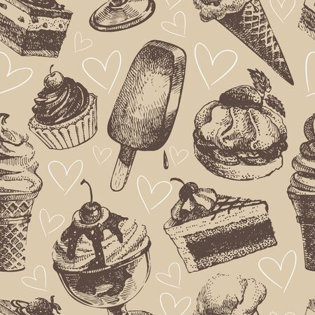 Seamless pattern with ice cream and cakes Stock Vector - 17126137