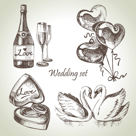 champagne celebration: Wedding set. Hand drawn illustration