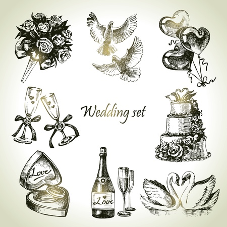 just married: Wedding set. Dibujado a mano ilustraci�n
