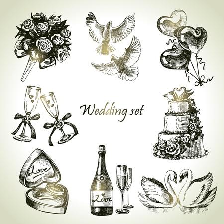 Wedding set. Hand getrokken illustratie