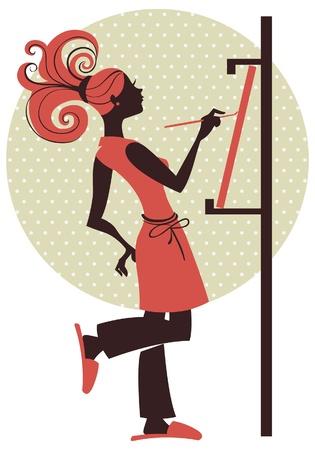 cartoon painter: Silhouette of artist girl