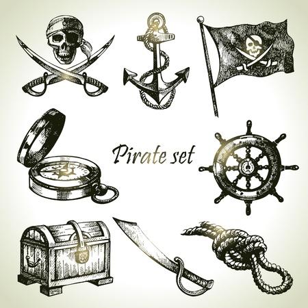 barco pirata: Piratas establecido. Dibujado a mano ilustraciones