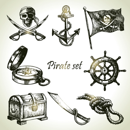 pirates flag design: Pirates set. Hand drawn illustrations
