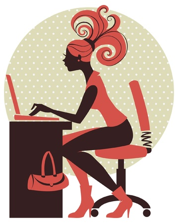 woman with laptop: Silhouette of girl with notebook