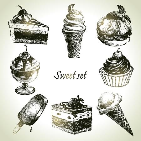 helado de chocolate: Dulce conjunto. Ilustraciones dibujadas a mano de pastel y helado Vectores