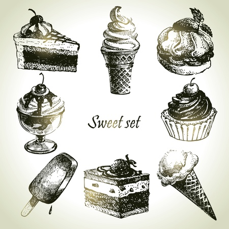 ice cream: Sweet set. Hand drawn illustrations of cake and ice cream