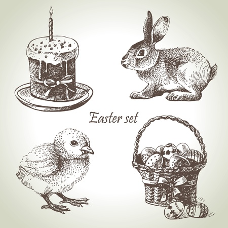 bunnies: Easter set. Hand drawn illustrations