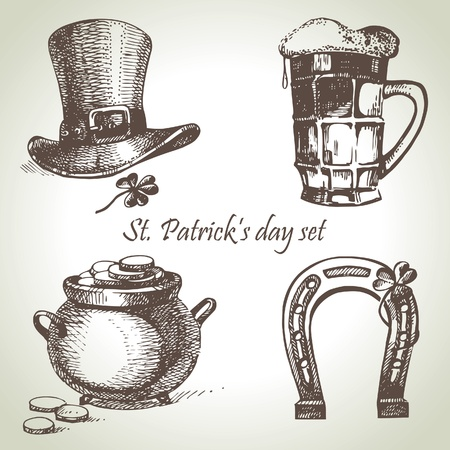 ale: St. Patricks Day set. Hand drawn illustrations