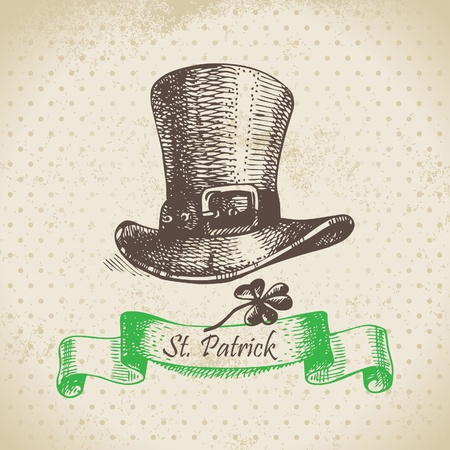 St. Patrick's Day vintage background. Hand drawn illustration  Stock Vector - 18002419